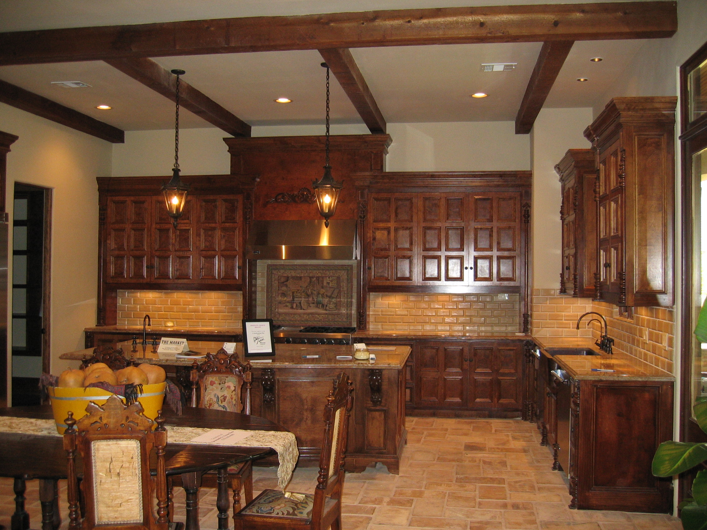 Award Winning Bellaire Showcase Home 2005 Custom Kitchen Cabinetry Floors Are Reclaimed Pavers From French Villa Built By Watermark Builders