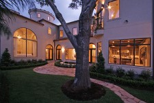 Bellaire Showcase Home 2007 luxury home by Watermark Builders courtyard at night 1