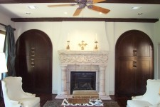 Bellaire custom home Showcase 2003 family room hand-carved fireplace mantle by Watermark Builders