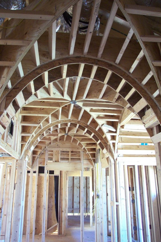 Award-winning Bellaire Texas showcase home 2003. Master bath before construction finishing. By Watermark Builders, Houston TX.