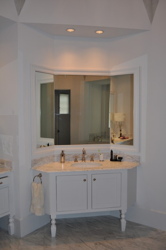 Memorial Villages new home built by Watermark Builders. Shown here, custom master bath vanity.