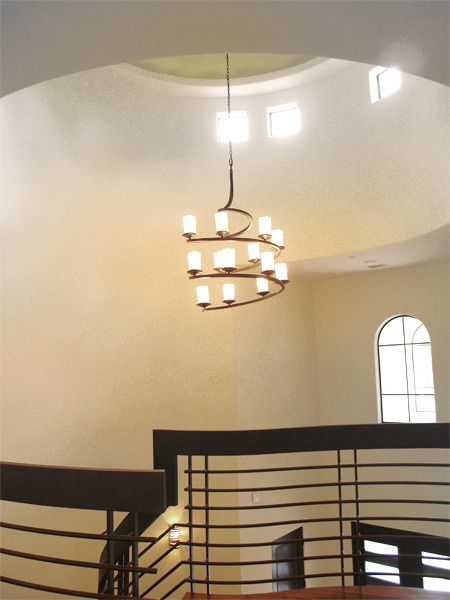 Home Builder Watermark Homes with Stairwell Chandelier Cupola
