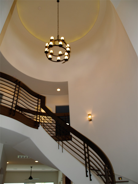 Home Builder Watermark Homes with Stairwell Chandelier